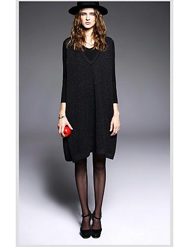 Damen Hülle Kleid-Ausgehen Niedlich Solide Rundhalsausschnitt Knielang Langarm Polyester Herbst Mittlere Hüfthöhe Mikro-elastisch Mittel