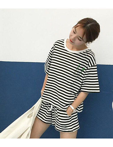 Damen Linien / Wellen Aktiv Sport T-Shirt-Ärmel Hose Anzüge,Rundhalsausschnitt Sommer Kurzarm Mikro-elastisch