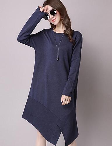 Damen Lang Pullover-Lässig/Alltäglich Solide Rundhalsausschnitt Langarm Baumwolle Andere Herbst Mittel Mikro-elastisch