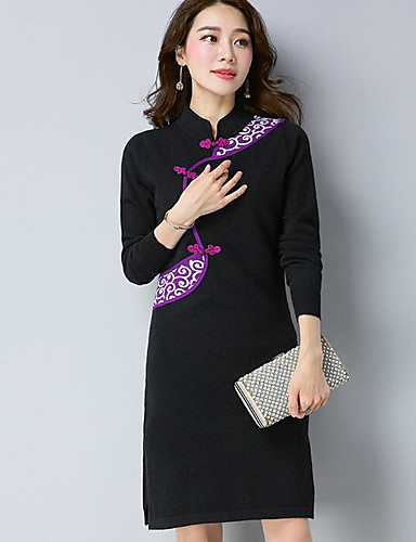 Damen Bodycon Kleid-Ausgehen Verziert Rundhalsausschnitt Knielang Langarm Baumwolle Herbst Mittlere Hüfthöhe Mikro-elastisch Mittel