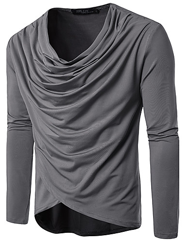 V-alakú Vékony Férfi Pamut Póló - Egyszínű