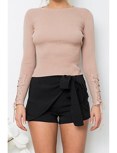 Damen Standard Pullover-Ausgehen Lässig/Alltäglich Einfach Street Schick Solide Rundhalsausschnitt Langarm Wolle Frühling Herbst Dünn