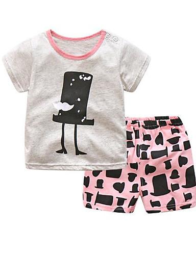 Baby Kinder Kleidungs Set Lässig/Alltäglich Geometrisch Baumwolle Sommer Rosa Grau