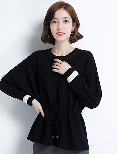 Damen Standard Pullover-Lässig/Alltäglich Solide Rundhalsausschnitt 3/4 Ärmel Wolle Andere Herbst Mittel Mikro-elastisch