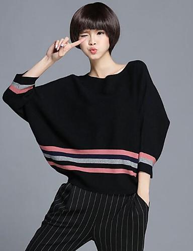 Damen Standard Pullover-Lässig/Alltäglich Solide Gestreift Rundhalsausschnitt Langarm Wolle Andere Herbst Mittel Mikro-elastisch