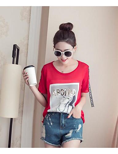 Damen Druck Einfach Lässig/Alltäglich T-shirt,Rundhalsausschnitt Kurzarm Andere