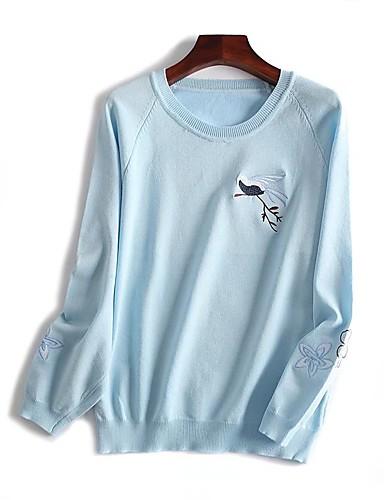 Damen Standard Pullover-Ausgehen Lässig/Alltäglich Einfach Niedlich Druck Rundhalsausschnitt Langarm Baumwolle Frühling Herbst Dünn Mittel