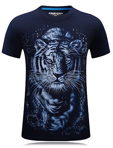 preiswerte Herren T-Shirts & Tank Tops-Herrn Tier - Aktiv Sport Übergrössen Baumwolle T-shirt, Rundhalsausschnitt Druck Tiger Schwarz XXXXL / Kurzarm / Frühling / Sommer / Herbst