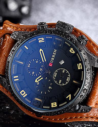 Herrn Quartz Armbanduhr Sportuhr Chinesisch Kalender Wasserdicht Echtes Leder Band Kreativ Freizeit Einzigartige kreative Uhr Elegant