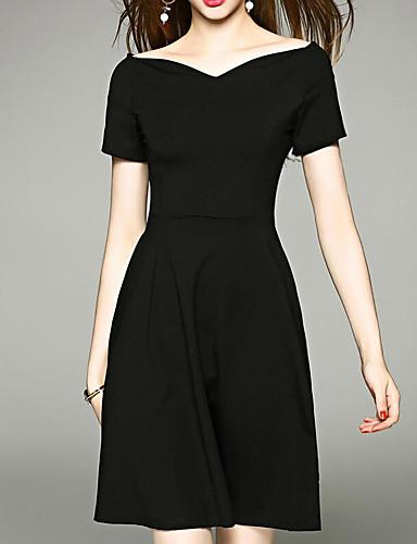 Damen Das kleine Schwarze Kleid-Ausgehen Solide V-Ausschnitt Übers Knie 3/4 Ärmel Polyester Sommer Mittlere Hüfthöhe Mikro-elastisch