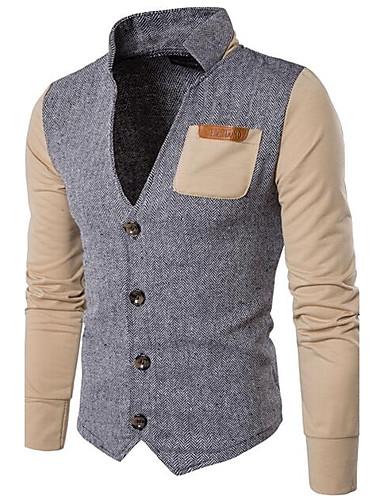 Herren Pullover Lässig/Alltäglich Einfach Solide Einfarbig Ständer Mikro-elastisch Baumwolle Lange Ärmel Ganzjährig