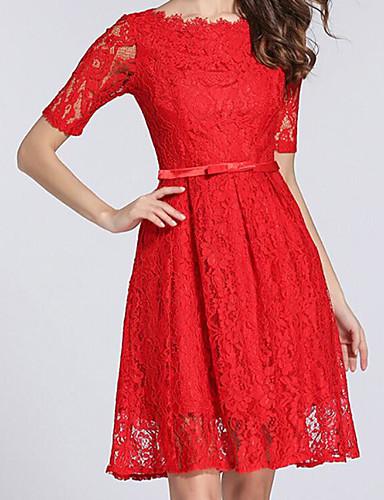 Damen Hülle Kleid-Ausgehen Solide Bateau Übers Knie Halbe Ärmel Polyester Sommer Mittlere Hüfthöhe Mikro-elastisch Mittel