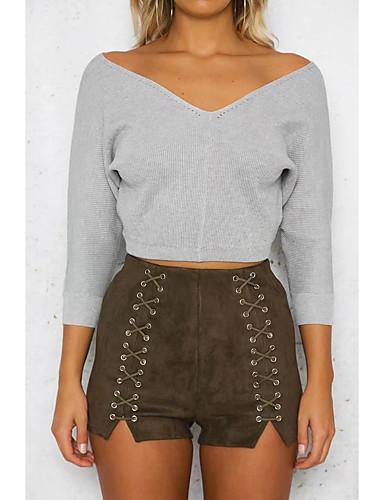 Damen Standard Pullover-Ausgehen Lässig/Alltäglich Einfach Solide V-Ausschnitt Langarm Acryl Polyester Frühling Herbst Dünn Mittel