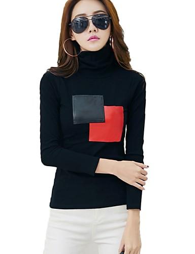 Women's Cotton T-shirt - Color Block Turtleneck