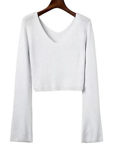 Damen Kurz Pullover-Ausgehen Lässig/Alltäglich Street Schick Solide V-Ausschnitt Langarm Baumwolle Acryl Herbst Mittel Mikro-elastisch