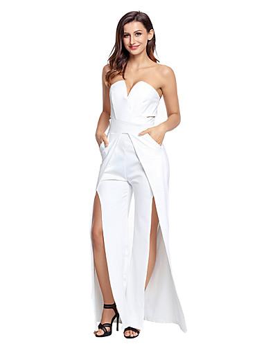 Damen Overall - Gespleisst, Solide V-Ausschnitt Hohe Hüfthöhe