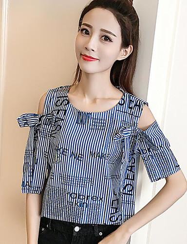 Damen Gestreift - Einfach Baumwolle Bluse