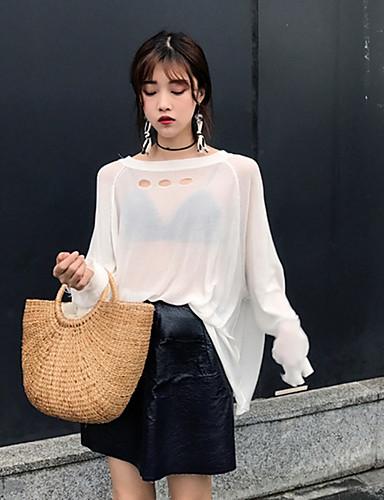 Damen Standard Pullover-Ausgehen Solide Rundhalsausschnitt Langarm Baumwolle Sommer Semi-transparent Mikro-elastisch