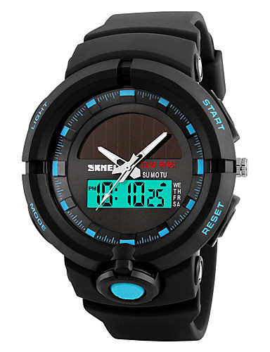 SKMEI Men's Sport Watch / Military Watch / Wrist Watch Japanese Alarm / Calendar / date / day / Chronograph PU Band Fashion / Unique Creative Watch Black / Green / Solar / LED / Luminous