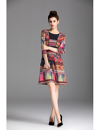 ZIYI Women's Sheath Dress - Solid Colored Print