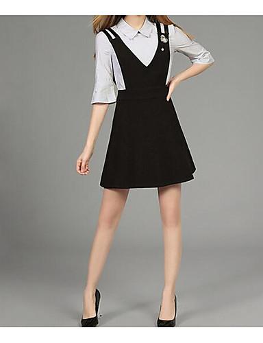 Damen Solide Einfach Ausgehen Arbeit Shirt Rock Anzüge,V-Ausschnitt Frühling Sommer Lange Ärmel Mikro-elastisch