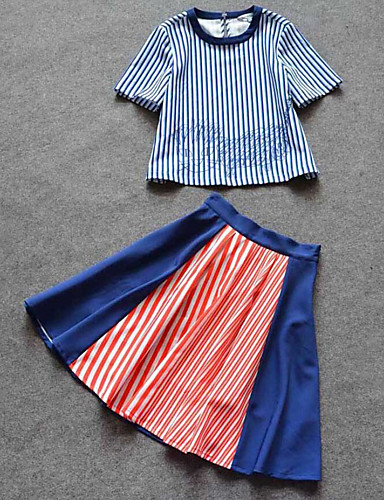 Damen Ausgehen Baumwolle T-shirt - Gestreift Rock / Sommer / mit feinen Streifen