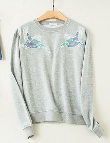 Damen Pullover Lässig/Alltäglich Einfach Druck Rundhalsausschnitt Mikro-elastisch Baumwolle Polyester Lange Ärmel Frühling Herbst
