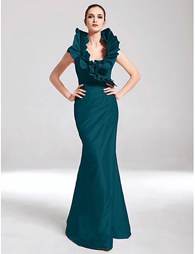 742e2bc7b615 Τρομπέτα   Γοργόνα Λαιμόκοψη V Μακρύ Ταφτάς Επίσημο Βραδινό Φόρεμα με  Πλαϊνό ντραπέ   Βολάν με TS Couture®