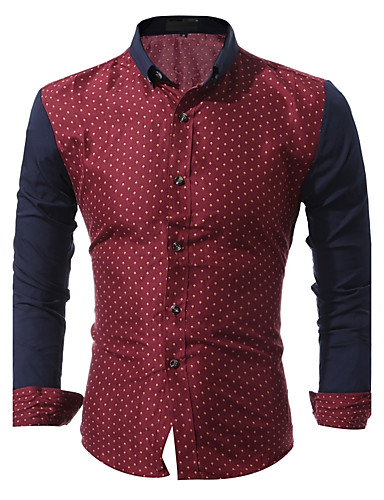 Men's Cotton Shirt - Polka Dot Print