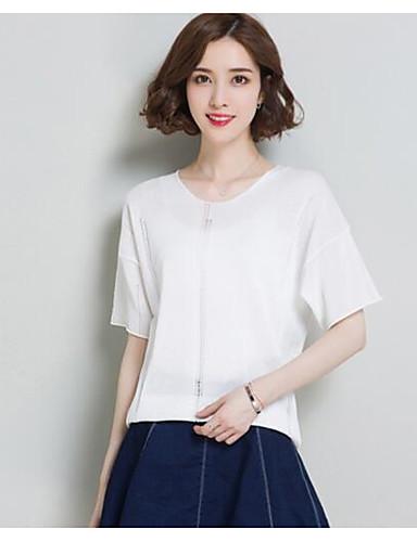 Damen Standard Pullover-Lässig/Alltäglich Solide Rundhalsausschnitt Kurzarm Baumwolle Andere Sommer Dünn Mikro-elastisch