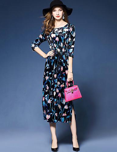Damen Etuikleid Kleid-Party Ausgehen Arbeit Street Schick Druck Rundhalsausschnitt Midi 3/4 Ärmel Polyester Elasthan Frühling Herbst