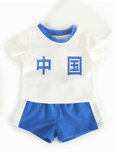 Baby Kinder Kleidungs Set Lässig/Alltäglich Einfarbig Sommer Blau Rote