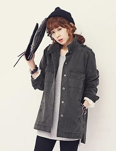 Damen Solide Druck Einfach Ausgehen Jeansjacke,Ständer Winter Lange Ärmel Lang Polyester