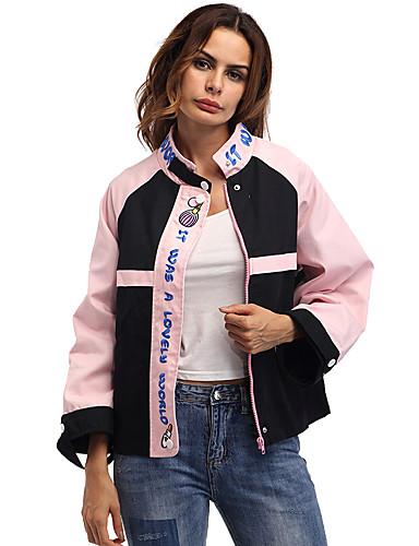 Damen Buchstabe Einfach Niedlich Aktiv Street Schick Festtage Ausgehen Lässig/Alltäglich Jacke,Ständer Herbst Winter Langärmelige Standard