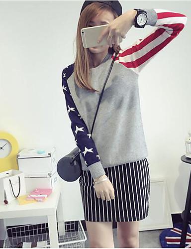 Damen Standard Pullover-Lässig/Alltäglich Einfach Solide Gestreift Geometrisch Rundhalsausschnitt Langarm Kaninchen-Pelz Herbst Dick