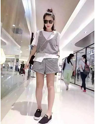 Damen Gestreift Einfach Ausgehen T-Shirt-Ärmel Hose Anzüge,Rundhalsausschnitt Sommer Kurzarm
