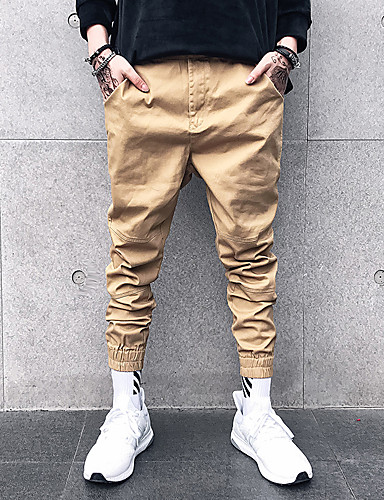 Men's Street chic Plus Size Slim / Chinos / Sweatpants Pants - Solid Colored Black XL / Spring / Fall / Winter