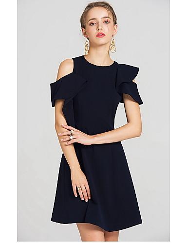 Damen Das kleine Schwarze Kleid-Lässig/Alltäglich Solide Rundhalsausschnitt Übers Knie Kurzarm Polyester Sommer Hohe Hüfthöhe