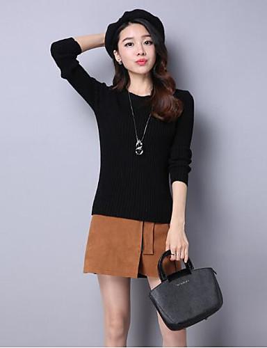 Damen Standard Pullover-Lässig/Alltäglich Solide Rundhalsausschnitt Langarm Baumwolle Andere Herbst Winter Mittel Mikro-elastisch
