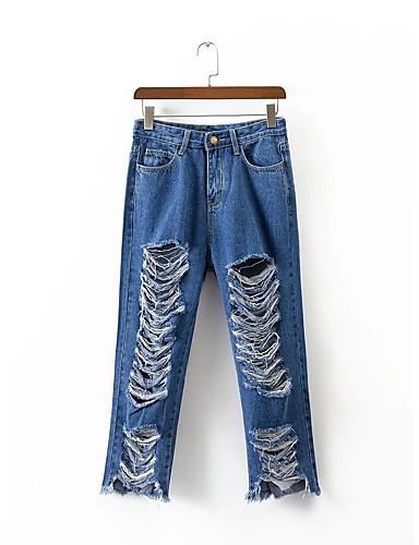Damen Street Schick Mittlere Hüfthöhe Mikro-elastisch Gerade Jeans Hose,Baumwolle Kunstseide Ganzjährig Solide