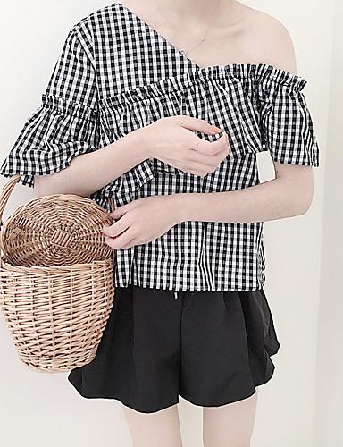 Damen Hahnentrittmuster Niedlich Ausgehen T-shirt,Schulterfrei Sommer Kurzarm Baumwolle Mittel