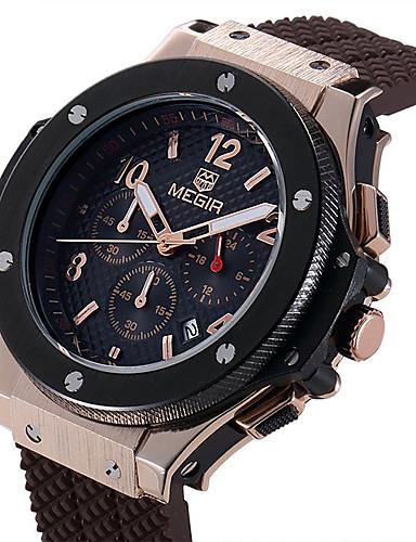 MEGIR Herrn Uhr Holz Einzigartige kreative Uhr Armbanduhr Modeuhr Sportuhr Armbanduhren für den Alltag Quartz Kalender Silikon Band Luxus