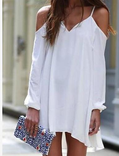 Damen Hülle Kleid-Lässig/Alltäglich Einfach Solide Gurt Mini Übers Knie Ärmellos Baumwolle Sommer Hohe Hüfthöhe Dehnbar Dünn