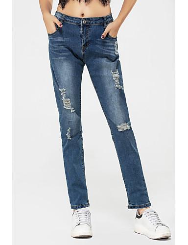 Kadın's Annelik Düşük Bel Dar Kesim Kotlar Pantolon Solid