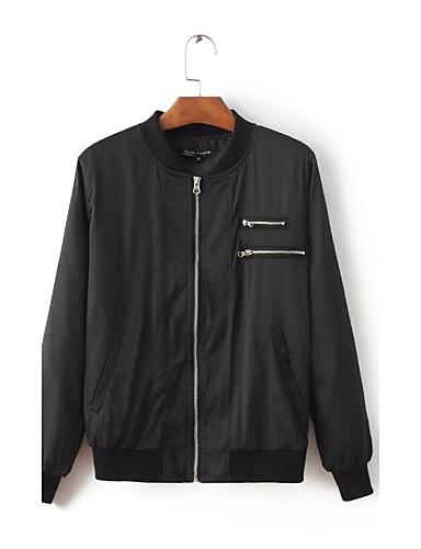 Damen Solide Einfach Sport Ausgehen Jacke,Ständer Frühling Herbst Langärmelige Standard Polyester Bestickt