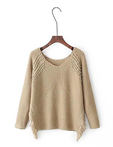 Damen Standard Pullover-Ausgehen Lässig/Alltäglich Einfach Street Schick Solide Rundhalsausschnitt Langarm Acryl Andere Winter Herbst