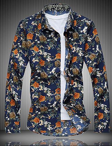 voordelige Herenoverhemden-Heren Vintage Print Grote maten - Overhemd Katoen, Feest / Club Gestreept / Bloemen / Tribal Spread boord Slank Wit / Lange mouw / Herfst / Winter