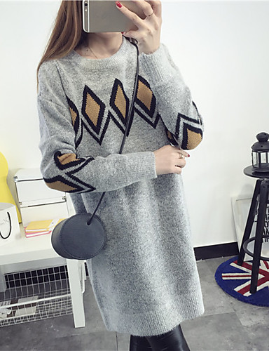 Damen Lang Pullover-Lässig/Alltäglich Druck Rundhalsausschnitt Langarm Kaninchen-Pelz Baumwolle Leinen Herbst Mittel Mikro-elastisch