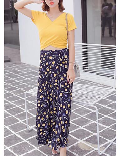 Damen Druck Einfach Lässig/Alltäglich T-Shirt-Ärmel Rock Anzüge,V-Ausschnitt Sommer Kurzarm