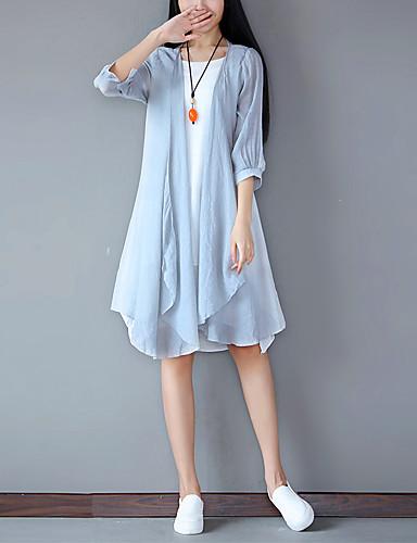 Damen Lose Kleid-Ausgehen Einfach Solide Rundhalsausschnitt Knielang Halbe Ärmel Leinen Polyester Sommer Mittlere Hüfthöhe Mikro-elastisch